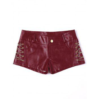 Metal Lace Up Faux Leather Shorts - RED S