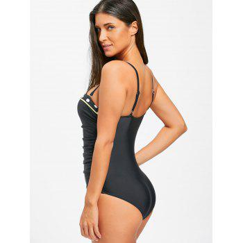 Ruched One Piece Push Up Swimsuit - BLACK 2XL