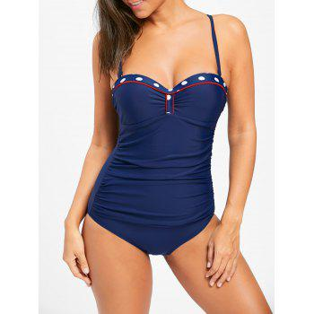 Ruched One Piece Push Up Swimsuit - CERULEAN 2XL