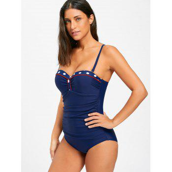 Ruched One Piece Push Up Swimsuit - CERULEAN XL