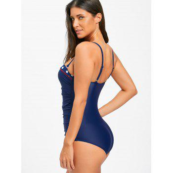 Ruched One Piece Push Up Swimsuit - CERULEAN L