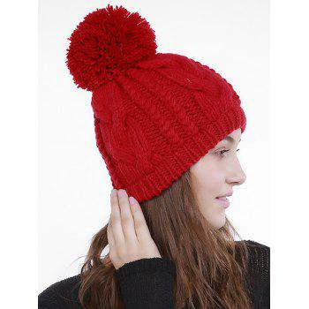 Chunky Cable Knit Plain Pom Hat - Rouge