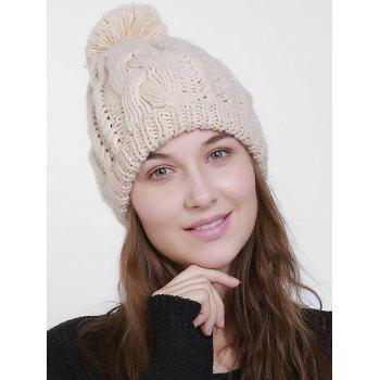 Chunky Cable Knit Plain Pom Hat - RAL Beige