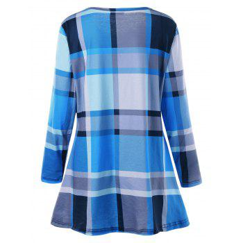 Plus Size Plaid Tee Dress - BLUE XL