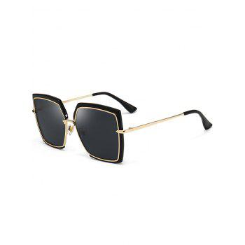 UV Protection Metal Full Frame Oversized Square Sunglasses - BLACK BLACK