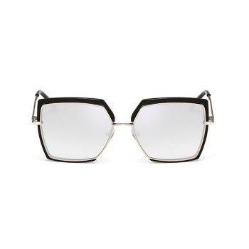 UV Protection Metal Full Frame Oversized Square Sunglasses - SILVER