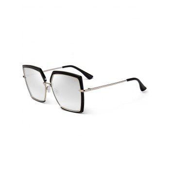 UV Protection Metal Full Frame Oversized Square Sunglasses - SILVER SILVER