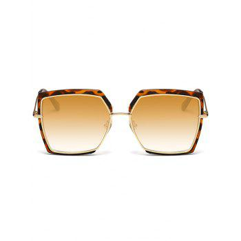 UV Protection Metal Full Frame Oversized Square Sunglasses -  LEOPARD/DARK BROWN