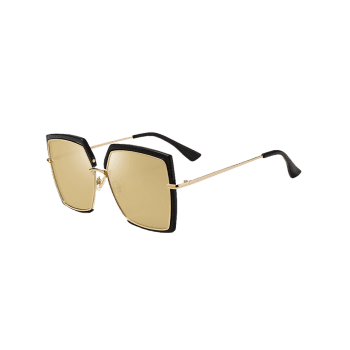 UV Protection Metal Full Frame Oversized Square Sunglasses - BLACK/BROWN