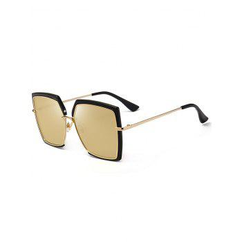 UV Protection Metal Full Frame Oversized Square Sunglasses - BLACK AND BROWN BLACK/BROWN