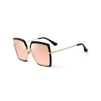 UV Protection Metal Full Frame Oversized Square Sunglasses - PINK PINK