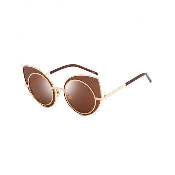 Anti UV Rhinestone Embellished Metal Frame Cat Eye Sunglasses - TEA-COLORED TEA COLORED