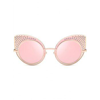 Anti UV Rhinestone Embellished Metal Frame Cat Eye Sunglasses -  PAPAYA