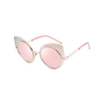 Anti UV Rhinestone Embellished Metal Frame Cat Eye Sunglasses - PAPAYA PAPAYA