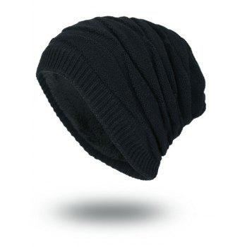 Vintage Stacking Stripe Slouchy Knit Beanie - BLACK BLACK