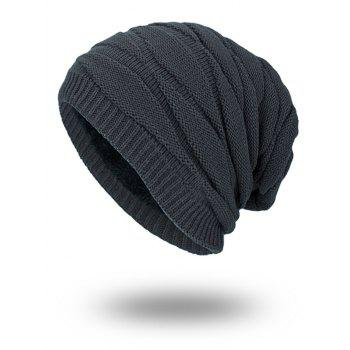 Vintage Stacking Stripe Slouchy Knit Beanie - GRAY GRAY