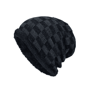 Outdoor Plaid Pattern Velvet Baggy Beanie -  DEEP GRAY