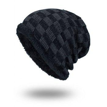 Outdoor Plaid Pattern Velvet Baggy Beanie - DEEP GRAY DEEP GRAY