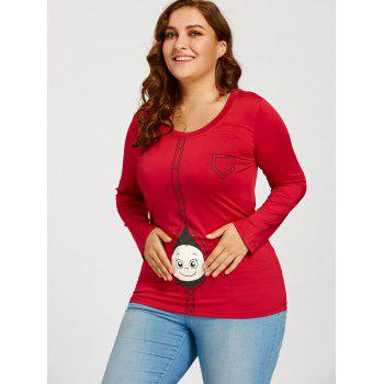 Cartoon Baby Printed Plus Size Long Sleeve T-shirt - RED XL