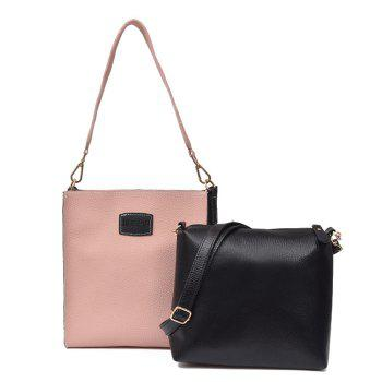 2 Pieces Contrasting Color Shoulder Bag Set - PINK PINK