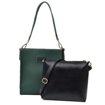2 Pieces Contrasting Color Shoulder Bag Set - GREEN GREEN