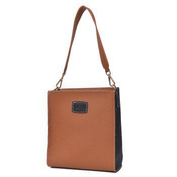 2 Pieces Contrasting Color Shoulder Bag Set - BROWN