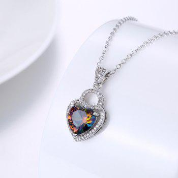 Faux Gemstone Collarbone Heart Necklace - SILVER SILVER