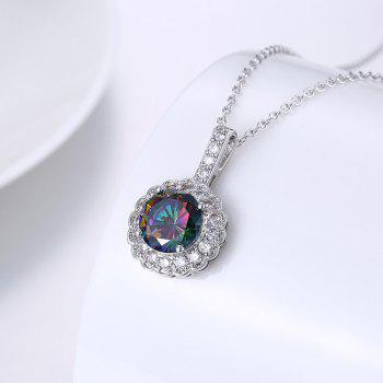 Faux Gemstone Collarbone Round Flower Necklace -  SILVER