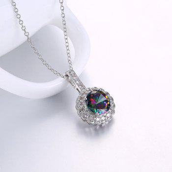 Faux Gemstone Collarbone Round Flower Necklace - SILVER SILVER