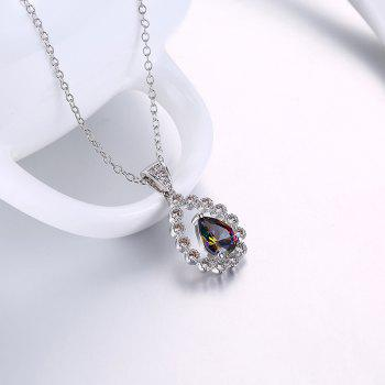Collarbone Faux Gemstone Teardrop Necklace - Argent