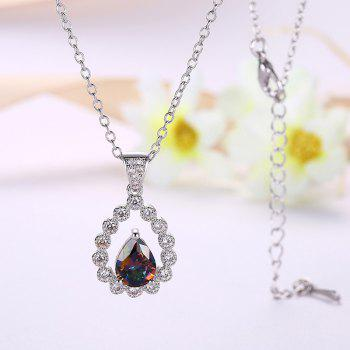 Collarbone Faux Gemstone Teardrop Necklace - SILVER SILVER