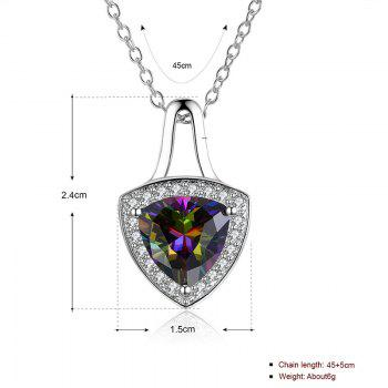 Faux Gemstone Triangle Collarbone Pendant Necklace - SILVER