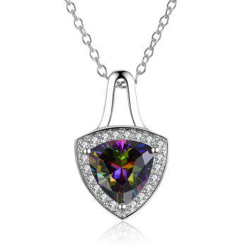 Faux Gemstone Triangle Collarbone Pendant Necklace - SILVER SILVER