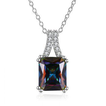 Faux Gemstone Collarbone Geometric Necklace - SILVER SILVER