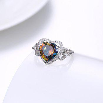 Faux Gemstone Heart Sparkly Finger Ring - Argent 6