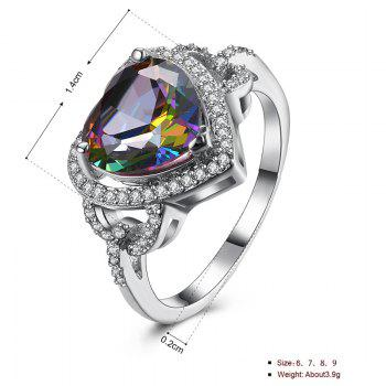 Faux Gemstone Heart Sparkly Finger Ring - Argent 7