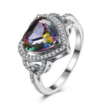 Faux Gemstone Heart Sparkly Finger Ring - SILVER 9