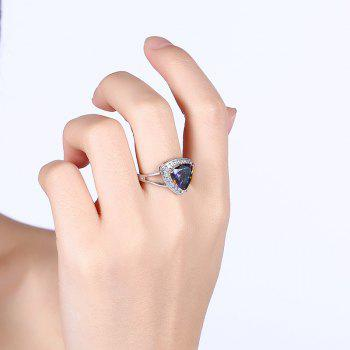 Faux Gemstone Sparkly Triangle Finger Ring - Argent 6
