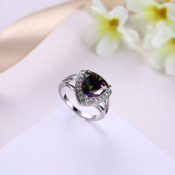 Faux Gemstone Sparkly Triangle Finger Ring - Argent 8