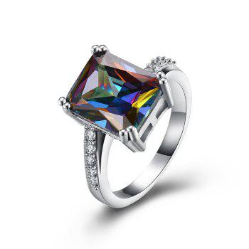 Faux Gemstone Geometric Sparkly Finger Ring - SILVER SILVER