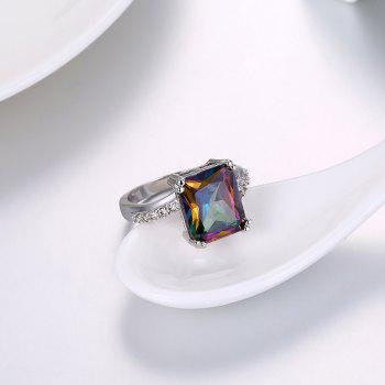 Faux Gemstone Geometric Sparkly Finger Ring - Argent 7