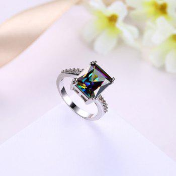 Faux Gemstone Geometric Sparkly Finger Ring - SILVER 9