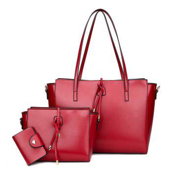 Faux Leather String 3 Pieces Shoulder Bag Set - RED RED
