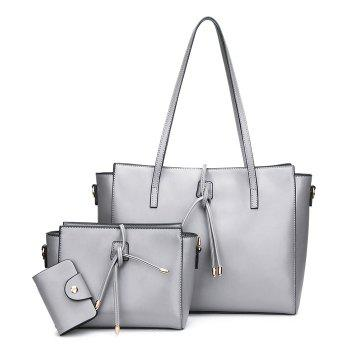 Faux Leather String 3 Pieces Shoulder Bag Set - GRAY GRAY