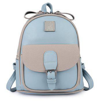Buckle Strap Metal Detail Backpack With Handle - BLUE BLUE