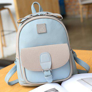 Buckle Strap Metal Detail Backpack With Handle -  BLUE