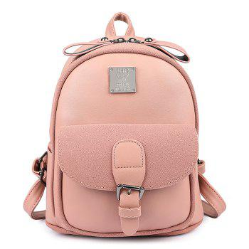 Buckle Strap Metal Detail Backpack With Handle - PINK PINK