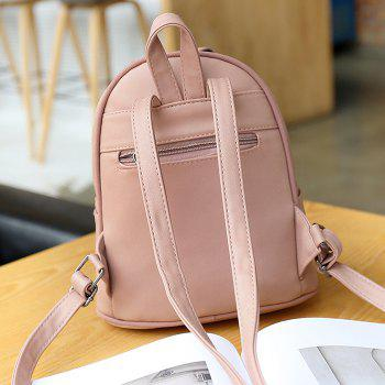 Buckle Strap Metal Detail Backpack With Handle -  PINK