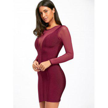 Mesh Insert Sheer Long Sleeve Bandage Dress - S S