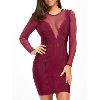Mesh Insert Sheer Long Sleeve Bandage Dress - PURPLISH RED S